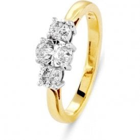 18ct gold Oval and Brilliant cut 3 stone diamond ring