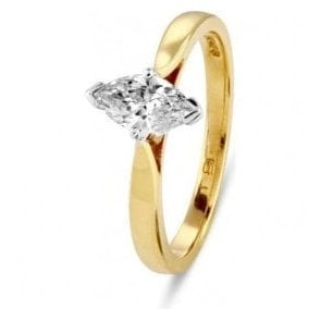 18ct gold single Marquise diamond ring