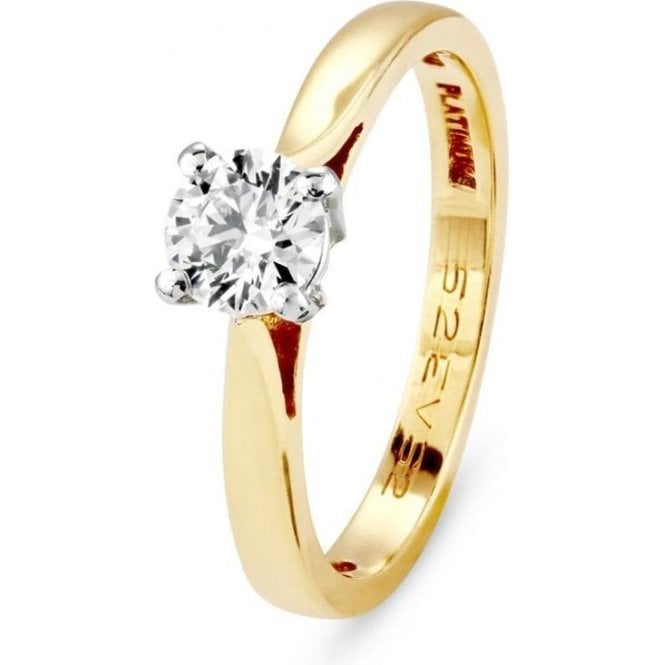 Dipples 18ct gold solitaire Diamond ring, E  / VS 2