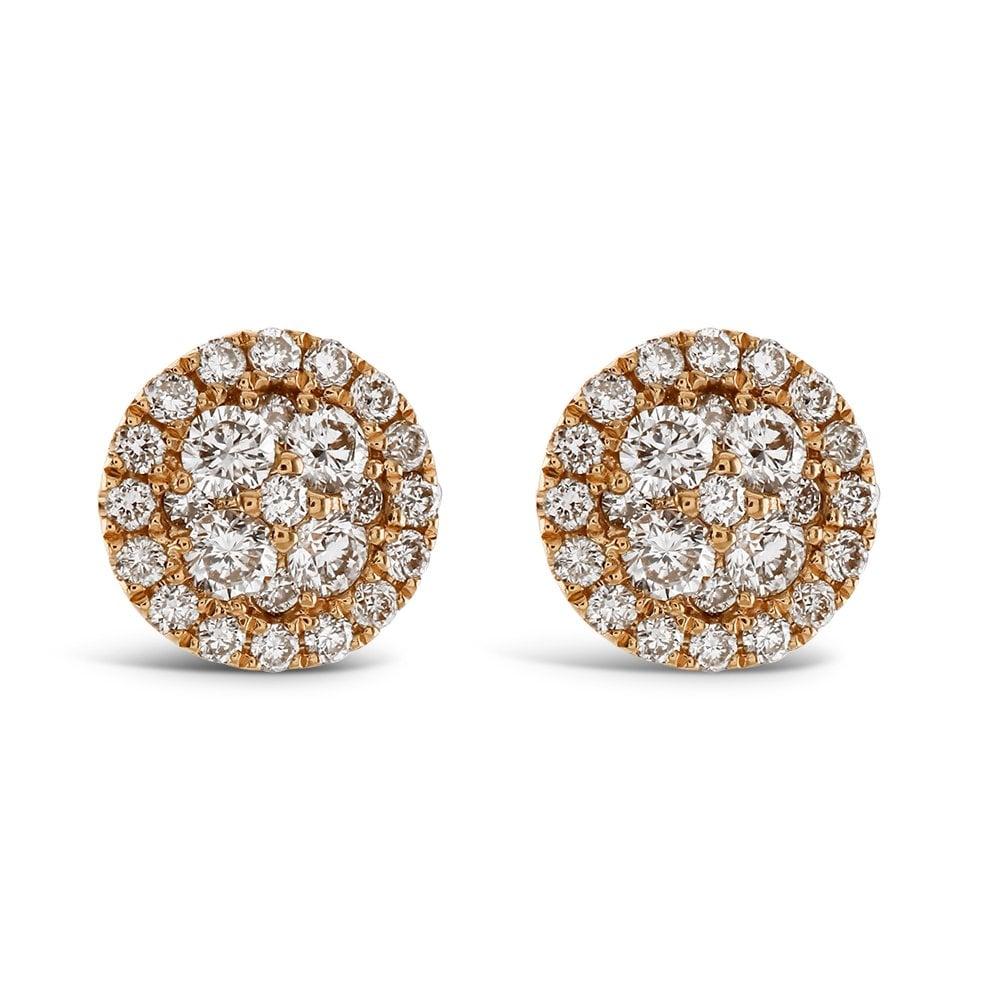c150aeaebd79 Dipples Dipples 18ct rose gold diamond circular stud earrings ...