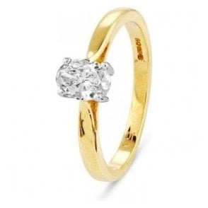 18ct solitiare oval claw set Diamond ring