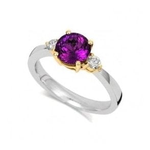 18ct white and yellow gold Royal Purple Garnet and Diamond ring