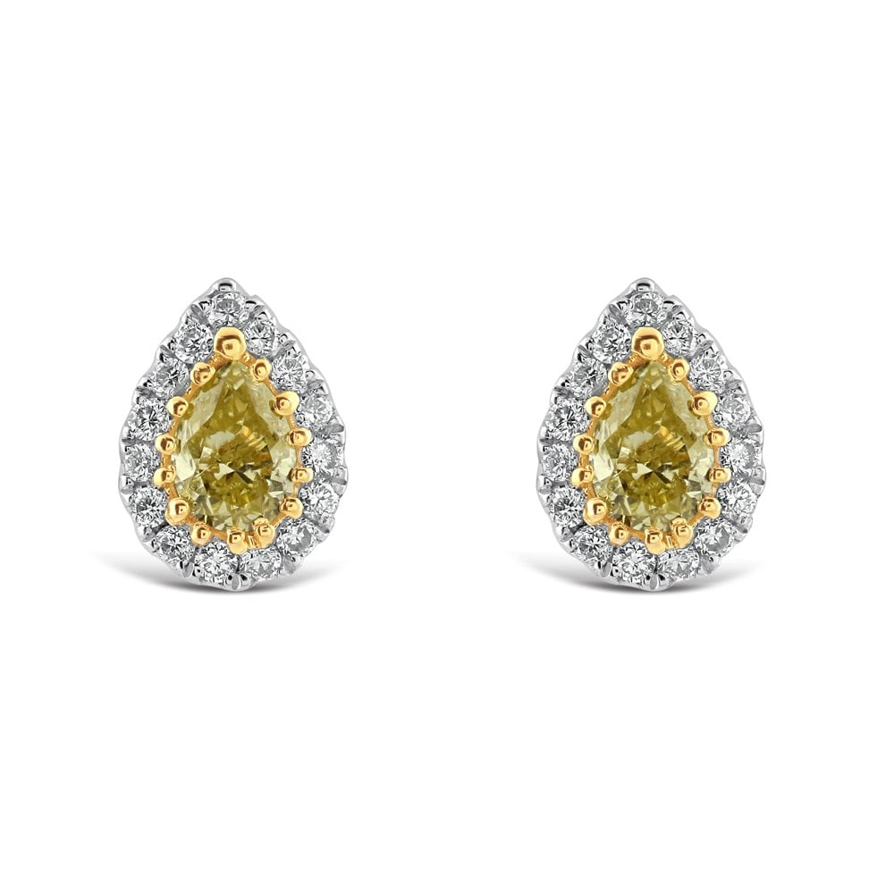 18ct White And Yellow Gold Diamond Stud Earrings