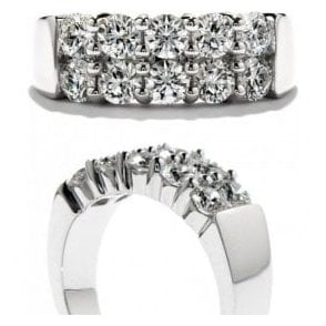 18ct white gold 10 diamond 2 row Diamond band
