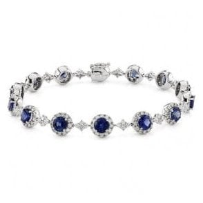 18ct White Gold 14 Sapphire and 224 Diamond Bracelet