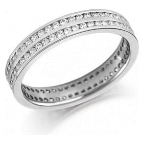 18ct white gold 2 row channel set band