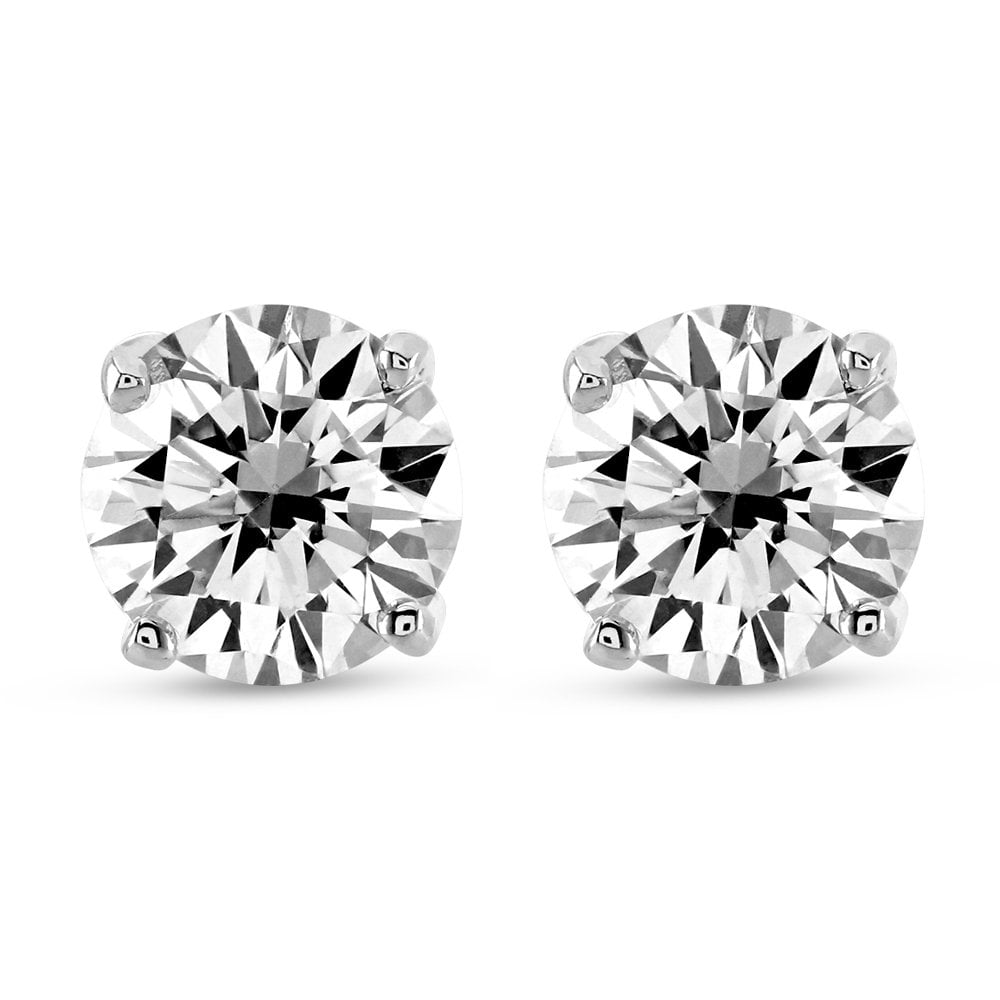 18ct White Gold 4 Claw Solitaire Diamond Stud Earrings