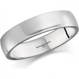 18ct white gold 5mm low domed court band