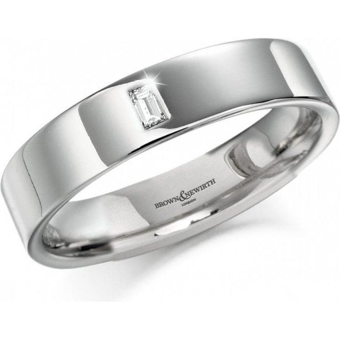 Brown & Newirth 18ct white gold baguette diamond band