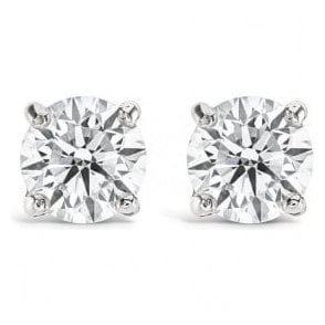 18ct white gold claw set Solitaire Earrings