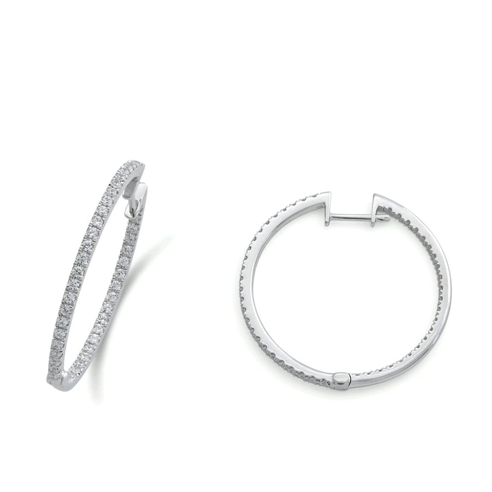 18ct White Gold Diamond Set Hoop Earrings