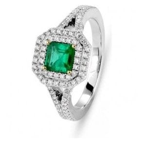 18ct white gold Emerald and Diamond Halo cluster ring