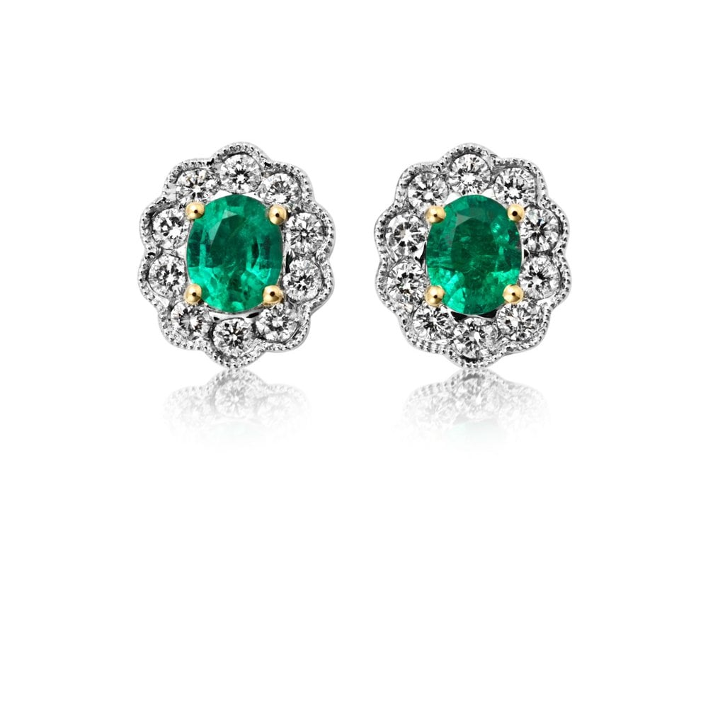 18ct White Gold Emerald And Diamond Oval Stud Earrings