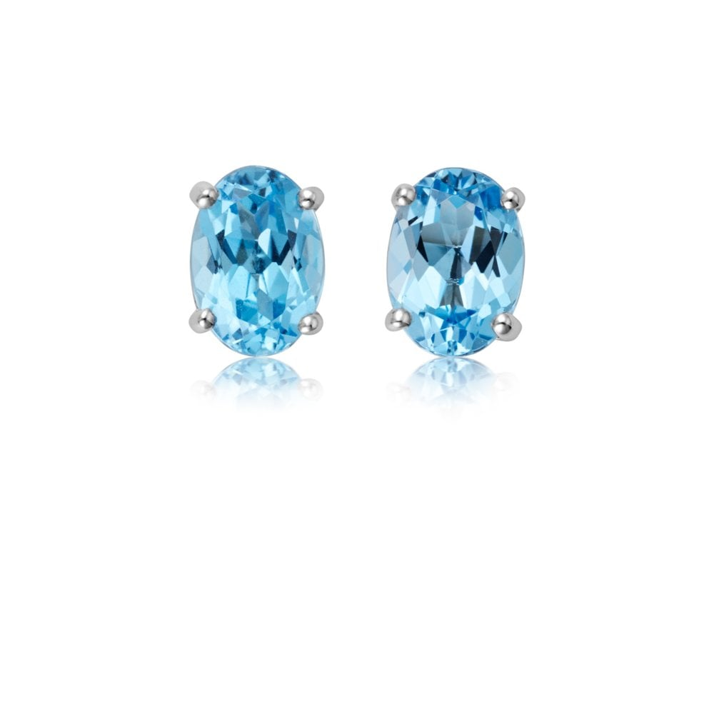 18ct White Gold Oval Blue Topaz Stud Earrings