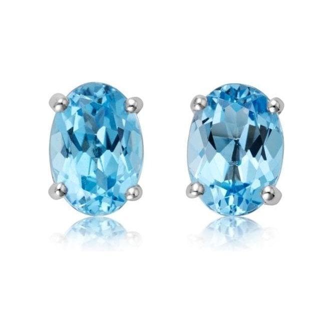 Dipples Dipples 18ct White Gold Oval Blue Topaz Stud Earrings