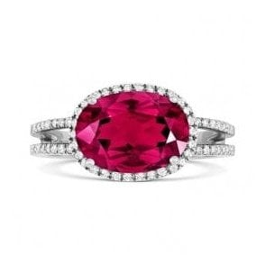 18ct white gold Pink Tourmaline and Diamond ring