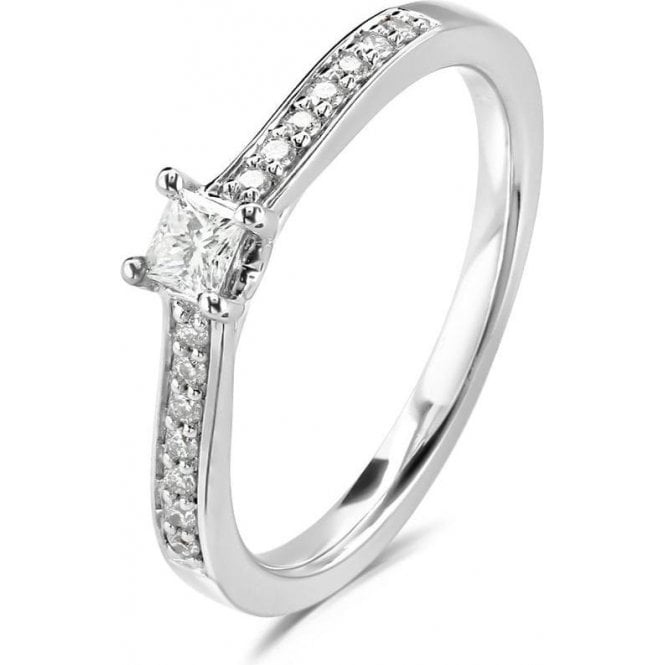 Dipples 18ct White Gold Princess Cut Diamond ring with Diamond Shoulders