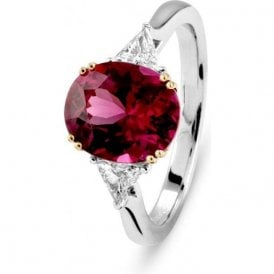 18ct white gold Rhodalite Garnet and Diamond ring