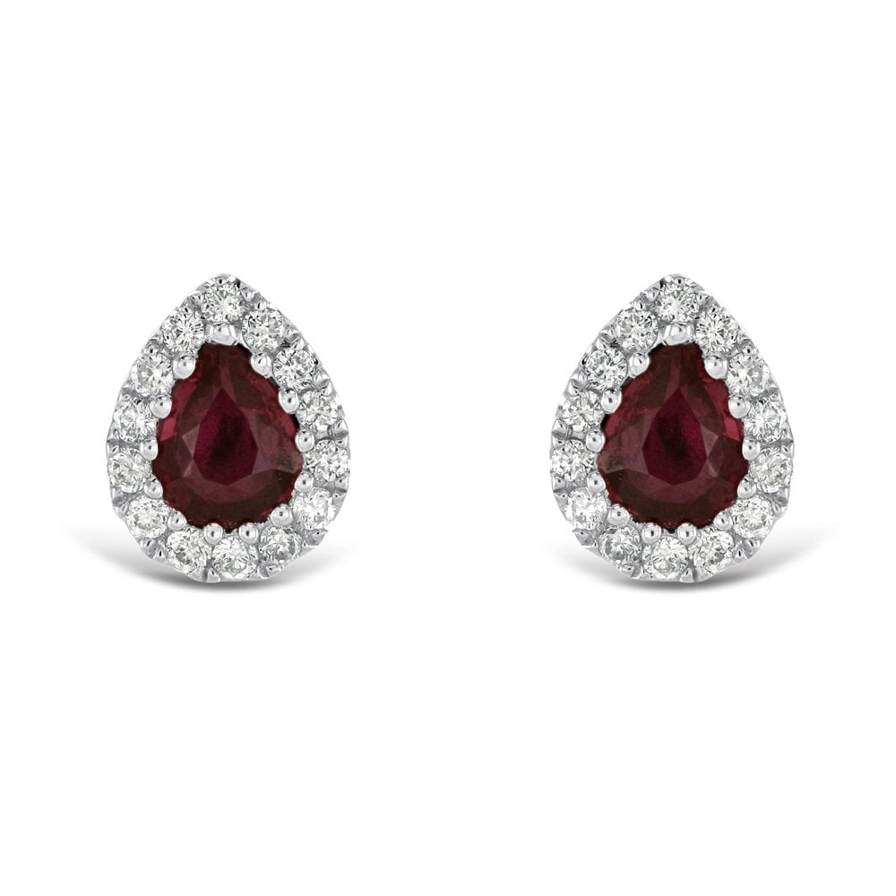 53a121c97 Dipples Dipples 18ct white gold ruby and diamond pear shaped stud ...