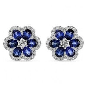 18ct white gold Sapphire and Diamond Floral stud earrings