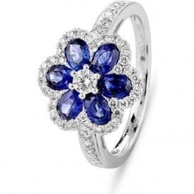18ct white gold Sapphire and Diamond Flower ring
