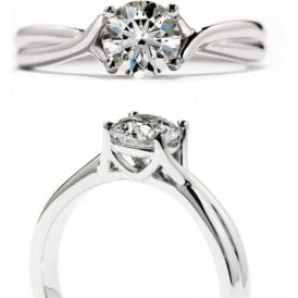 18ct White Gold Simply Bridal Twist Solitaire Engagement Ring