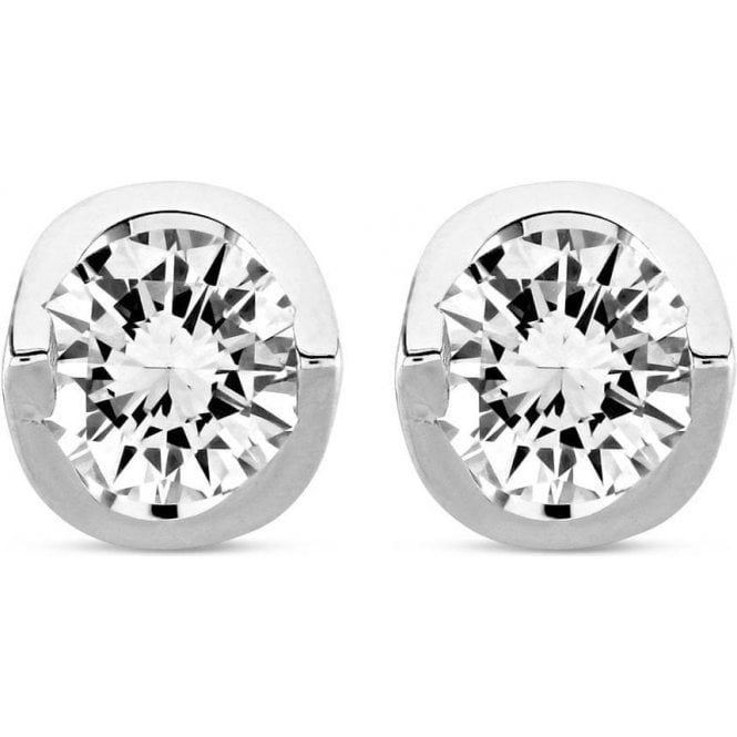 Dipples 18ct white gold solitaire diamond stud earrings