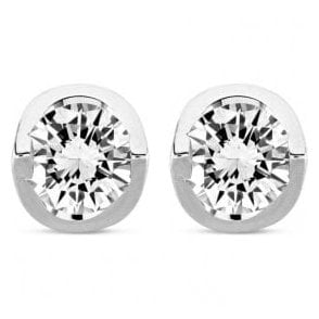 18ct white gold solitaire diamond stud earrings