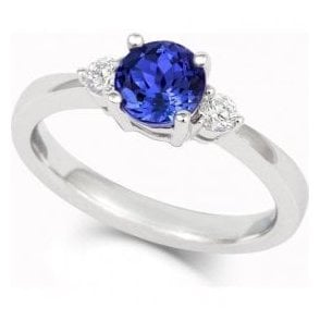 18ct white gold Tanzanite and Diamond claw set three stone ring