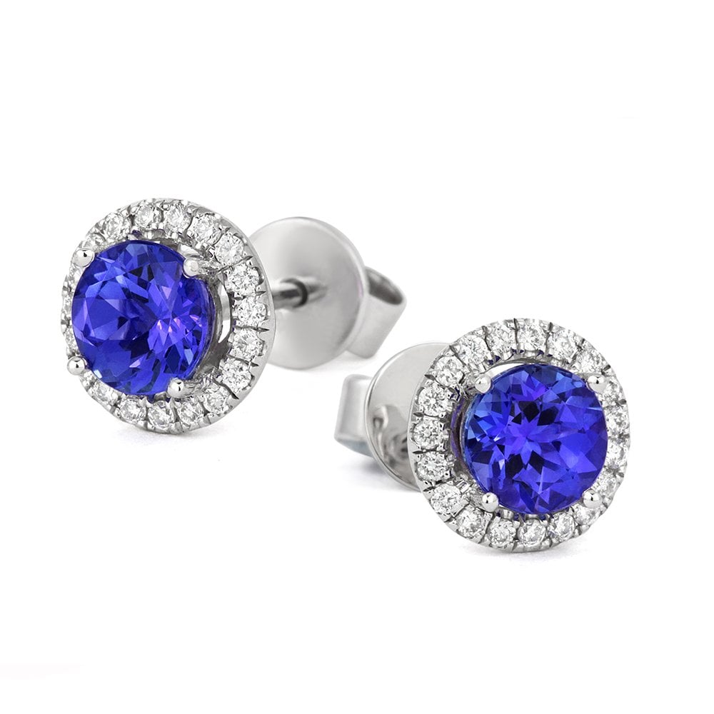 18ct White Gold Tanzanite And Diamond Halo Cer Earrings