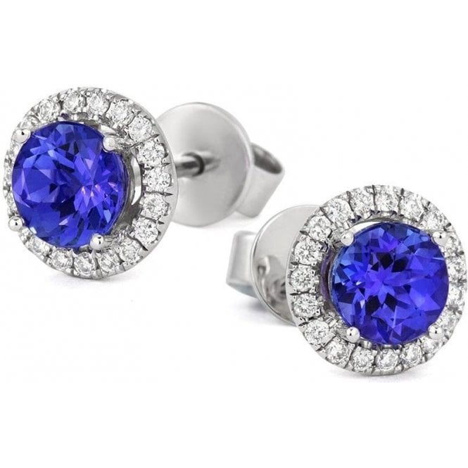 Tivon 18ct white gold Tanzanite and Diamond halo cluster earrings