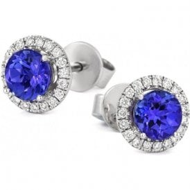 18ct white gold Tanzanite and Diamond halo cluster earrings