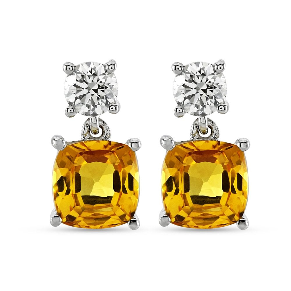 18ct White Gold Yellow Shire And Diamond Drop Earrings