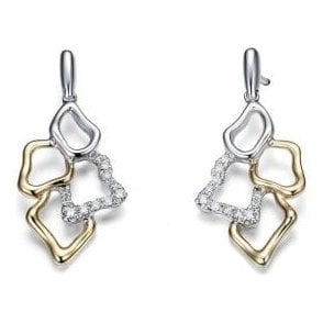 18ct Yellow and White Gold Openwork Diamond Drop Earrings.