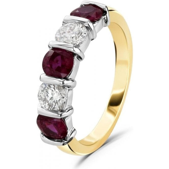 Dipples 18ct yellow and white gold Ruby and Diamond 5 stone band