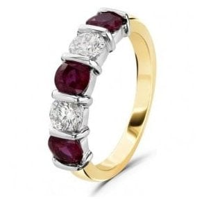 18ct yellow and white gold Ruby and Diamond 5 stone band