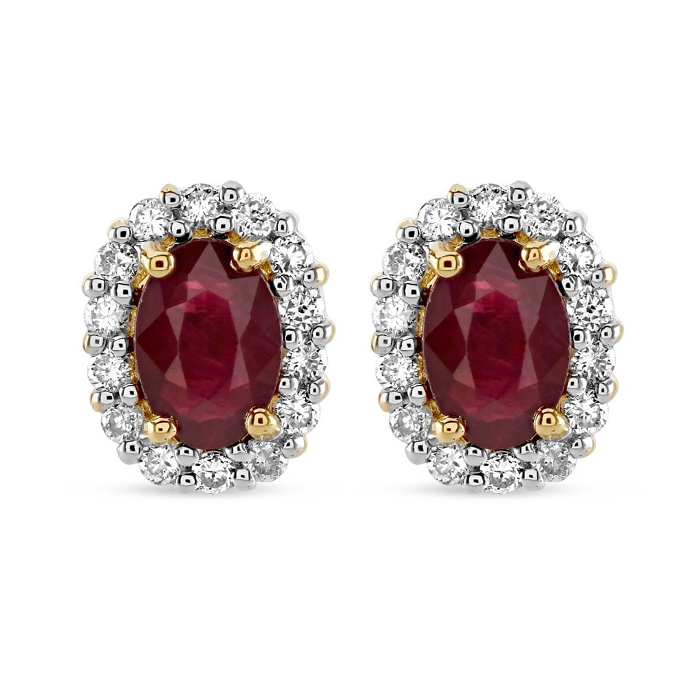 18ct Yellow And White Gold Ruby Diamond Cer Earrings