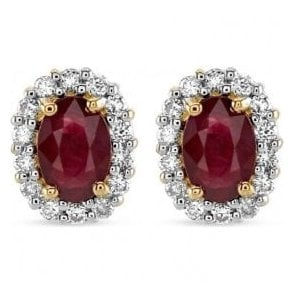 18ct yellow and white gold Ruby and Diamond cluster earrings