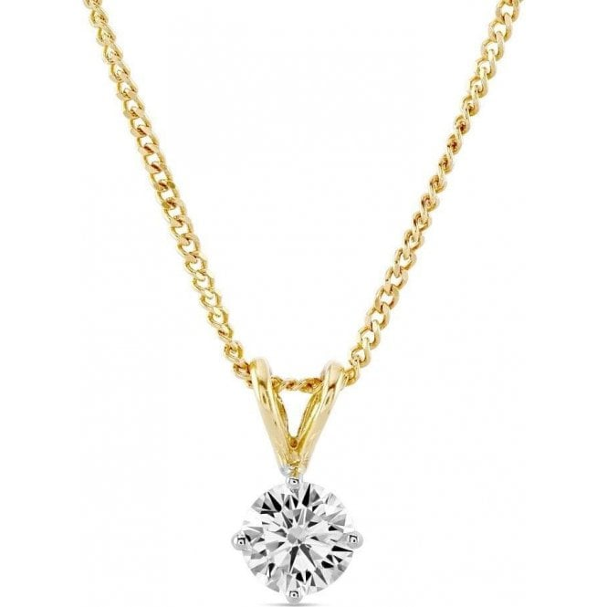 Dipples 18ct yellow and white gold Solitaire Diamond Pendant and Chain