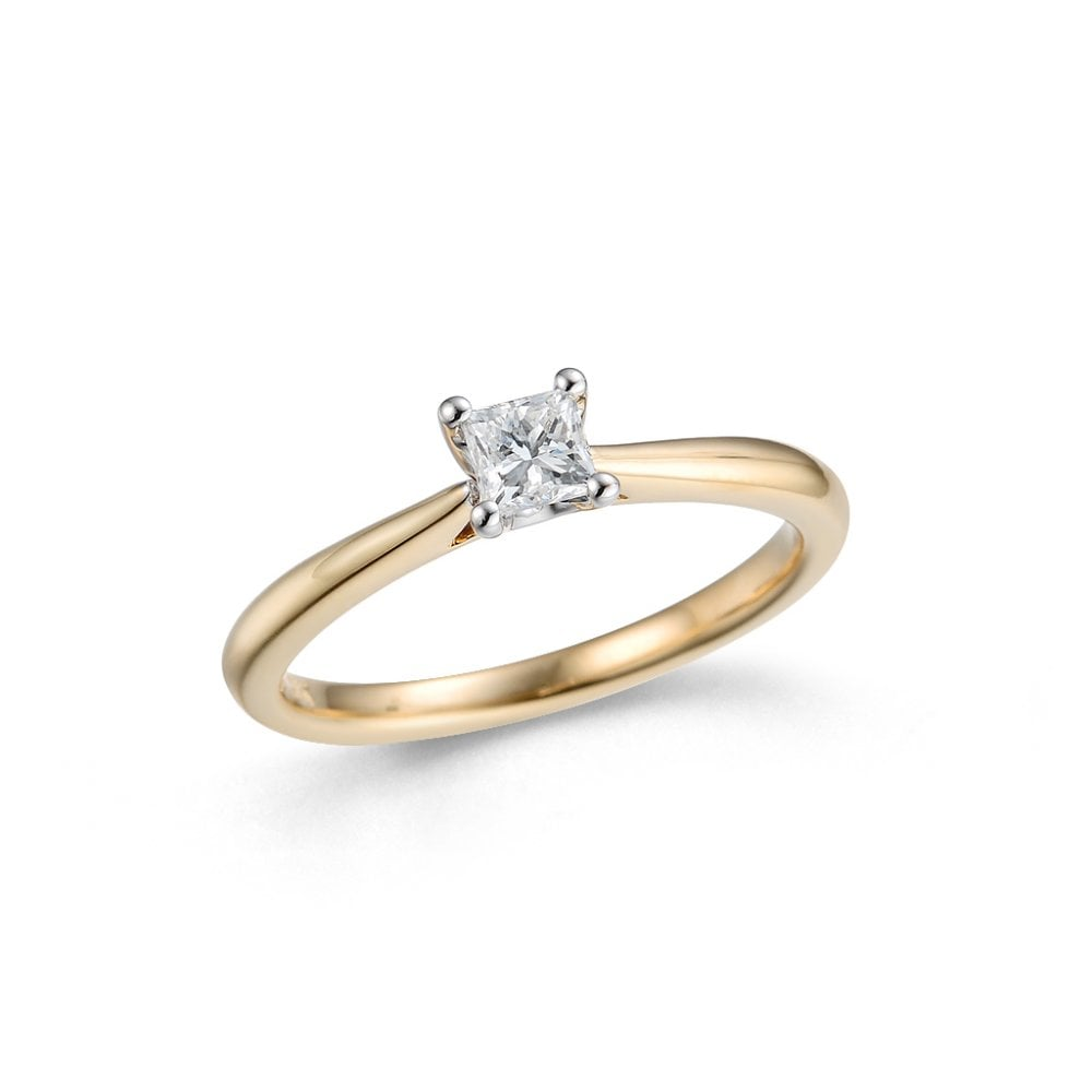 7f3459cb179ab 18ct Yellow and White Gold Solitaire Princess Cut Diamond Ring