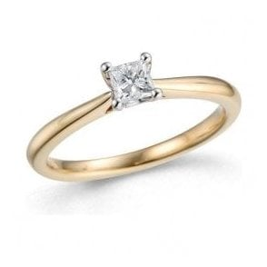 18ct Yellow and White Gold Solitaire Princess Cut Diamond Ring