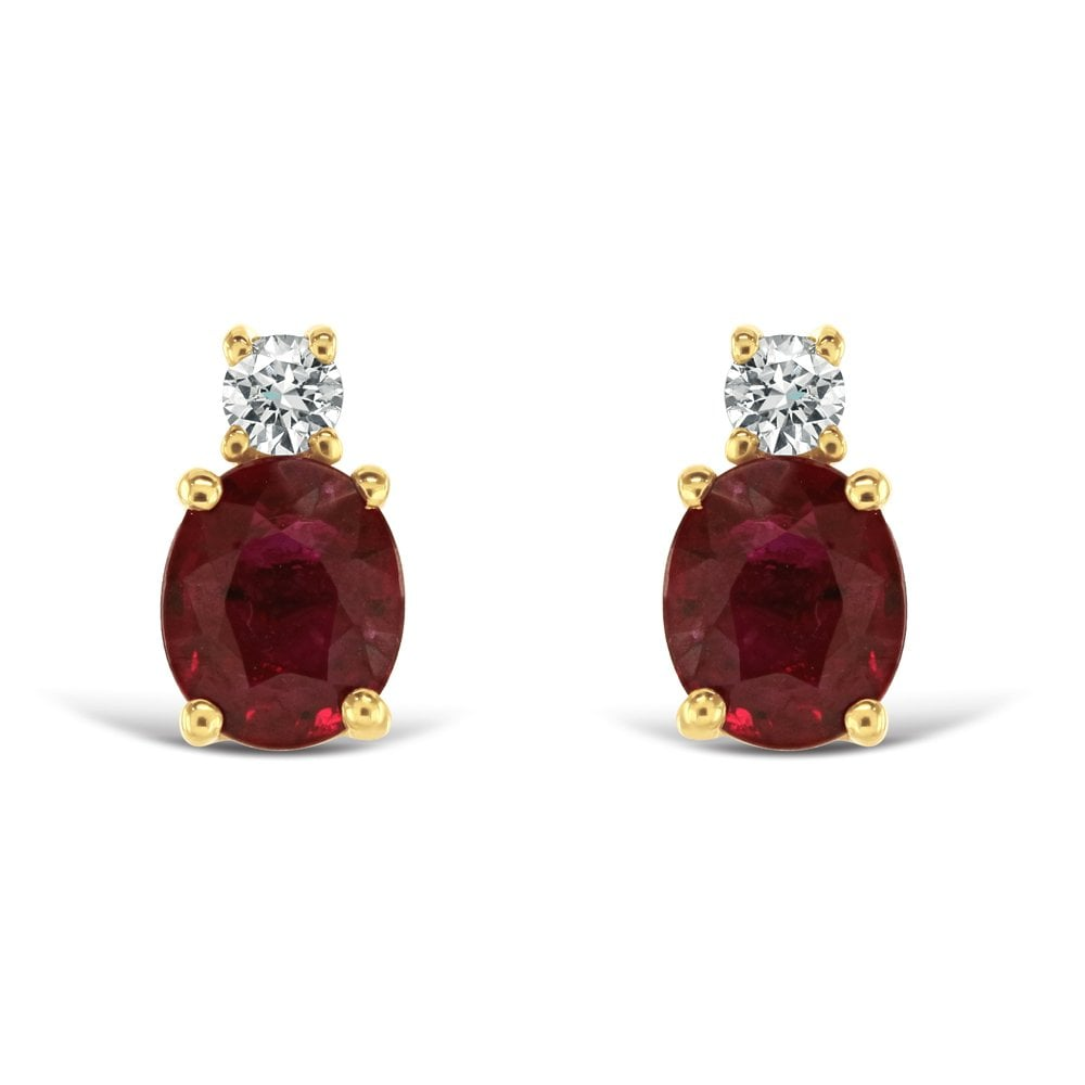 db61be67e Dipples Dipples 18ct yellow gold ruby and diamond stud earrings ...