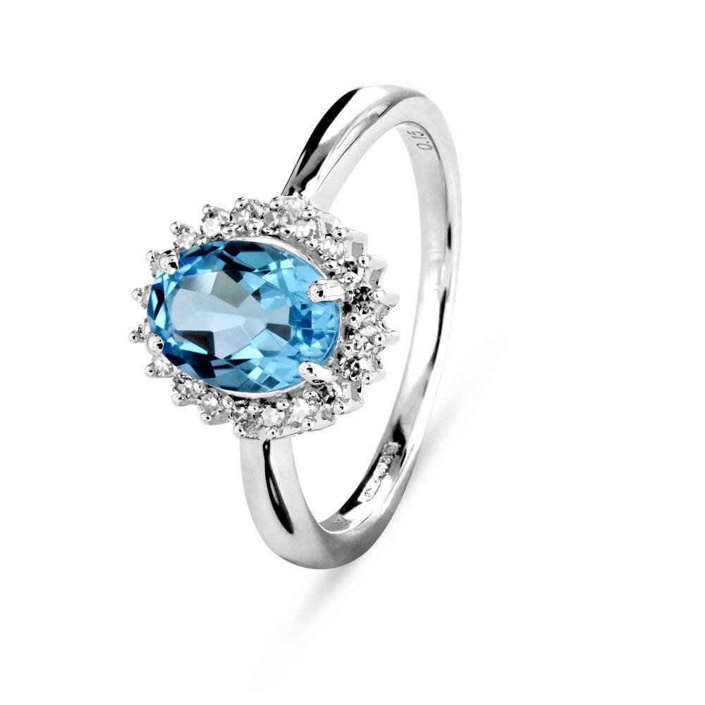 10e876e64ed4c 9ct white gold Blue Topaz and Diamond cluster ring
