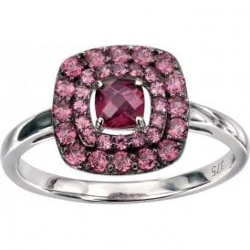 9ct white gold Brazilian Garnet ring with 2 row halo