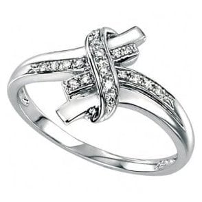 9ct white gold infinity kiss ring
