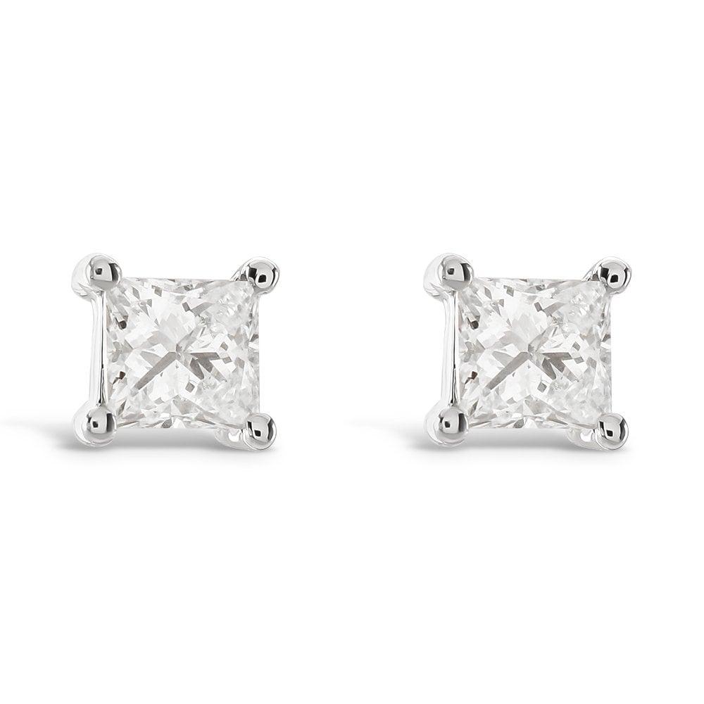 9ct White Gold Princess Cut Diamond Stud Earrings