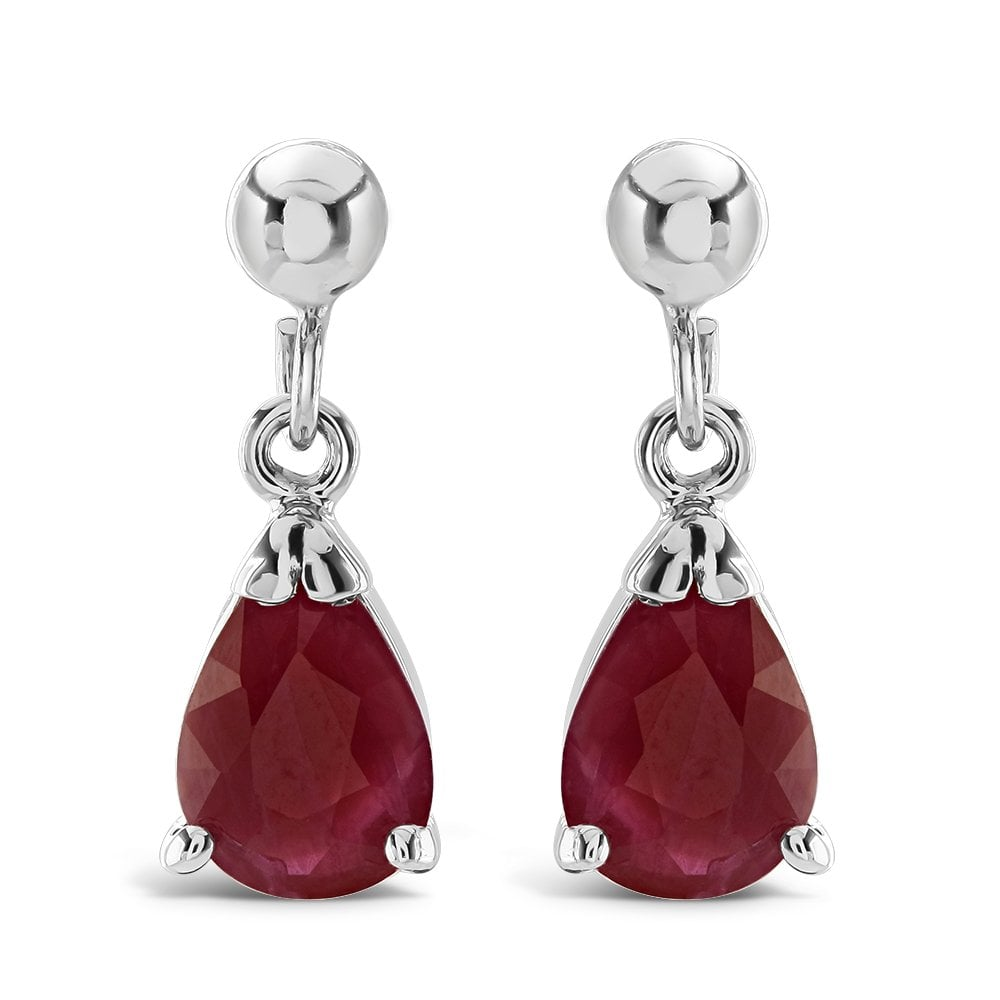 9ct White Gold Ruby Drop Earrings