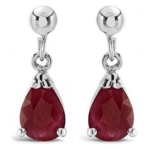 9ct white gold Ruby drop earrings