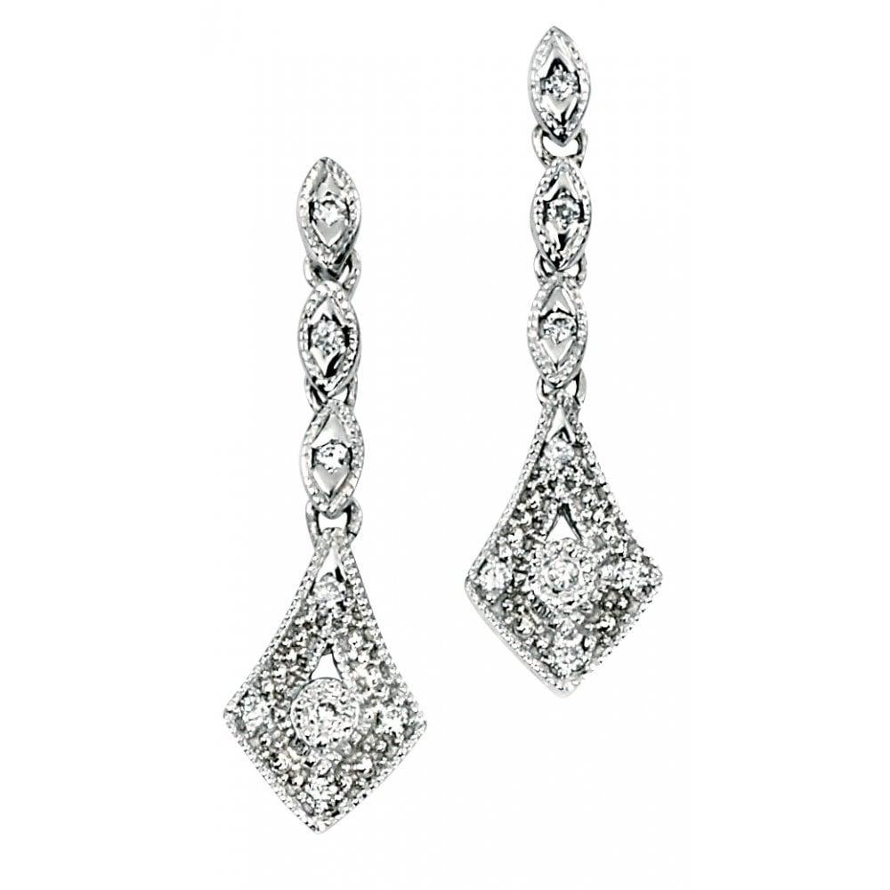 52eebe9c5 Dipples Dipples 9ct white gold vintage style diamond drop earrings ...