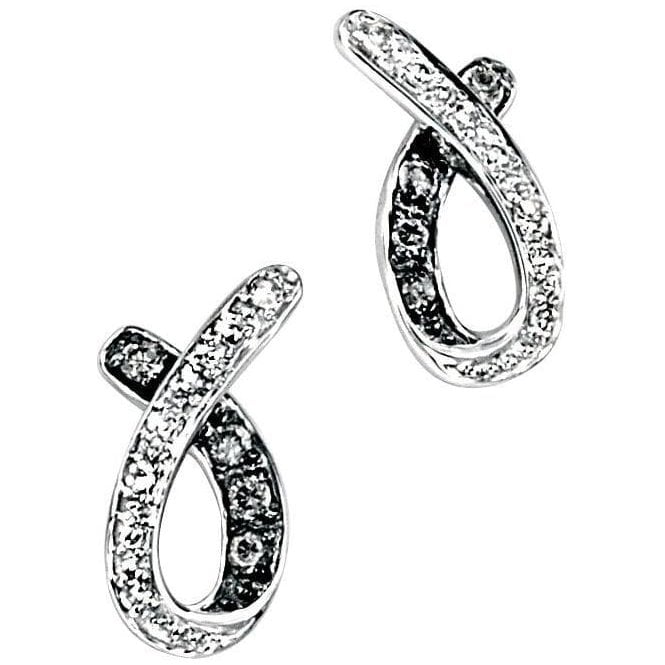 9ct White Gold And Black Diamond Stud Earrings
